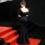 Gelegentliches One Shoulder Slit Abendkleid