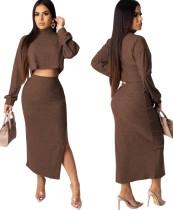 Knitting Plain Crop Top and Midi Skirt