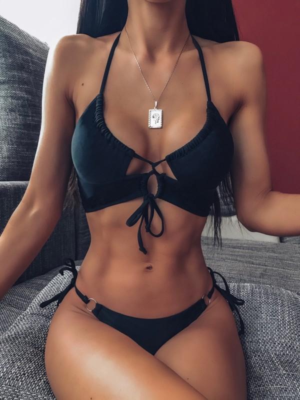 Sexy schwarz zweiteilige Saiten Halfter Bademode