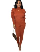 Plain Color Tight Top and Pants Set