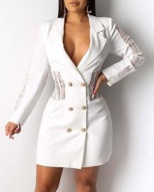Robe blazer à manches longues en dentelle blanche