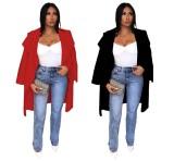 Durchsichtiger, langer Mantel mit breitem Kragen