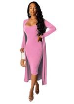 Uzun Ceket Eşleşen Düz Renk Midi Elbise