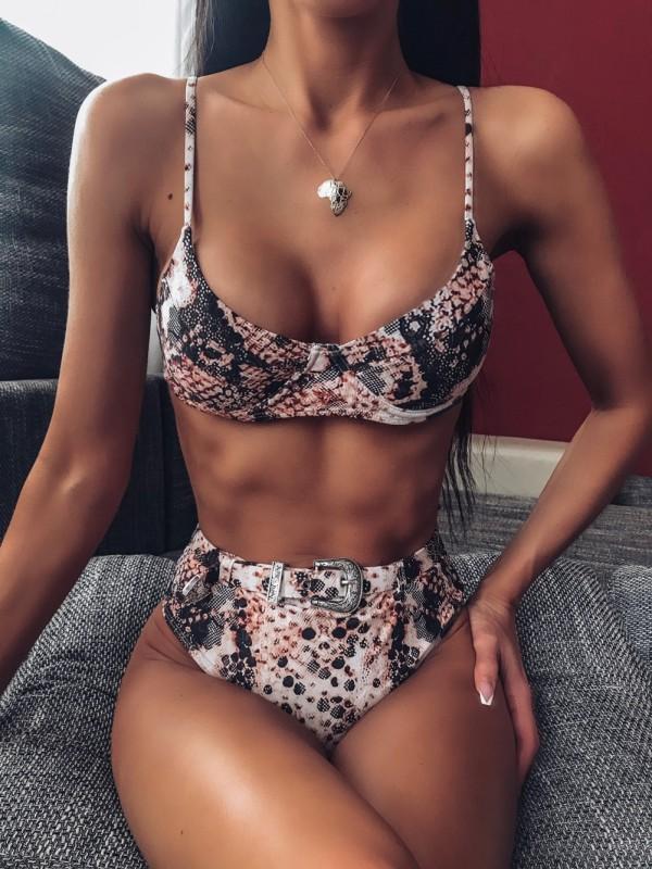 Sexy zweiteilige Halfter-Badebekleidung mit Print