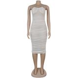 Sexy, figurbetontes Kleid mit gerafften Trägern