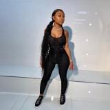 Sexy schwarzer Netz Bodycon Jumpsuit