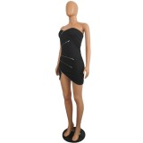 Sexy schwarzen trägerlosen Reißverschluss, figurbetontes Kleid