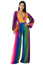 Sexy Deep-V Long Sleeve Wrapped Colorful JumpsuiT