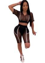 Sexy Black See Through Top corto y pantalones cortos
