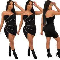 Sexy Black Strapless Zipper Bodycon Dress
