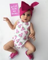 Baby Girl Sommer Print ärmellose Strampler