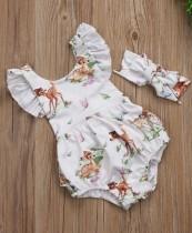 Baby Girl Sommer Print Rüschen Strampler