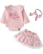 Baby Girl Floral Langarm Shirt und Rock Set
