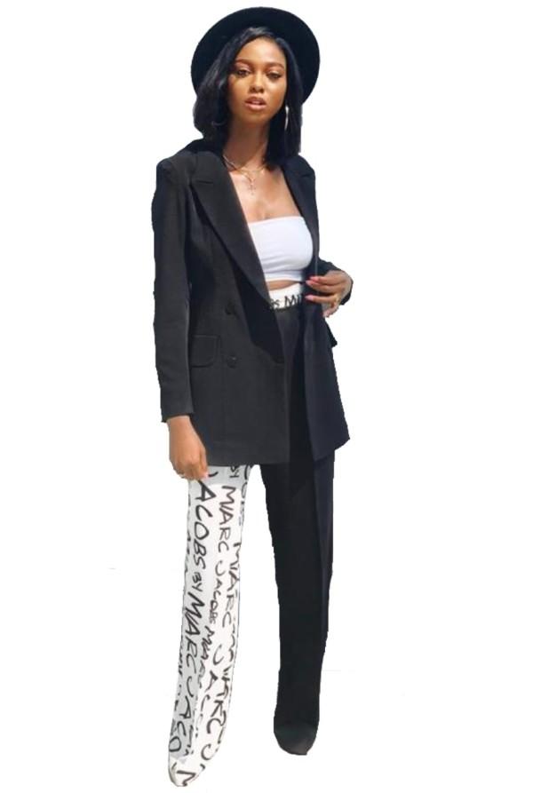 Weißer und schwarzer Blazer und Hosen-Set