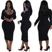 Черное платье-миди с длинными рукавами и блестками