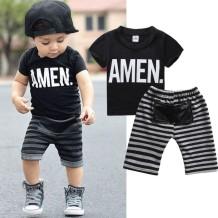 Комплект для летней рубашки и шорт с принтом Kids Boy Stripes