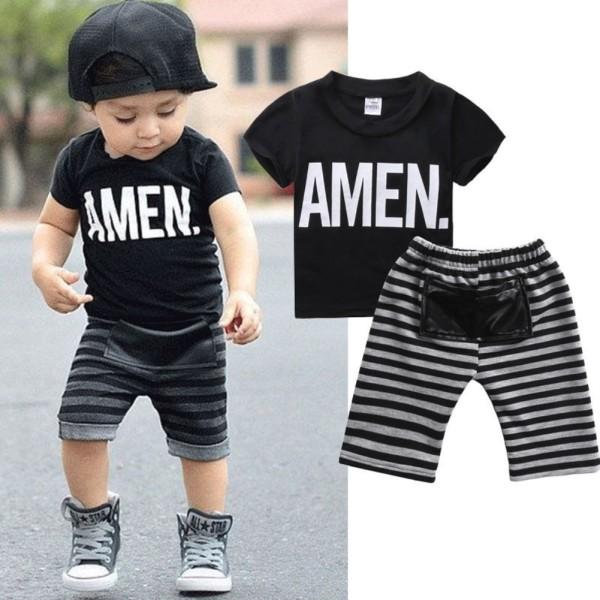 Kids Boy Stripes Print Sommerhemd und Shorts Set