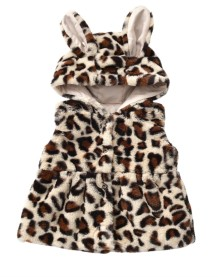 Kids Girl Leopard Sleeveless Hoody Tank Coat