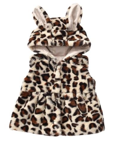 Chaqueta sin mangas con capucha y estampado de leopardo, niña, niños
