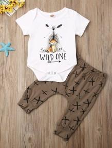 Baby Boy Print Summer Bodysuit and Pants Set