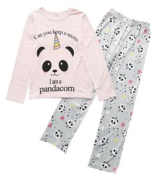 Kids Girl Animal Print Conjunto de pijama de manga comprida