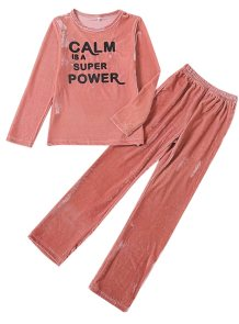 Kids Girl Velvet Print Long Sleeve Pajama Set