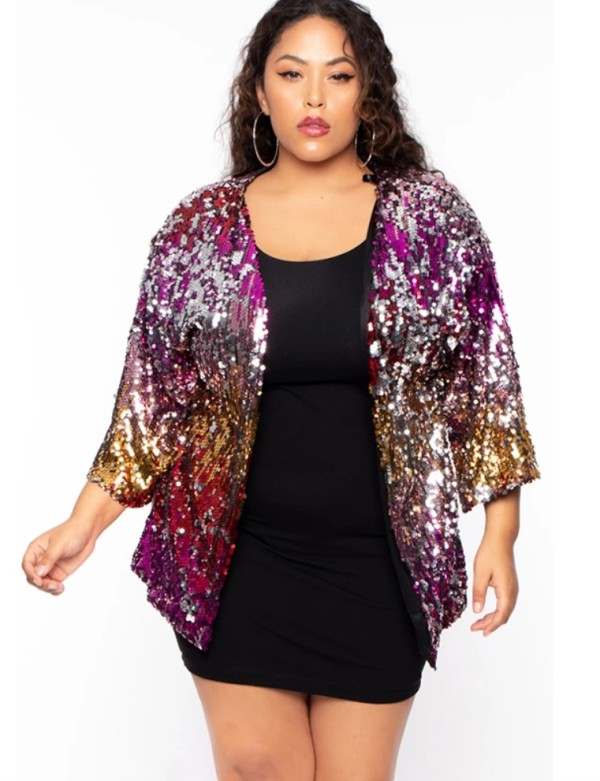 Plus Size Pailletten bunte Party Mantel