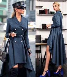 Western Alta Baixa manga comprida A-Line Blazer Dress