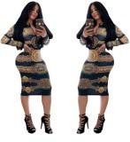 Sexy Print Ethnic Langarm, figurbetontes Kleid
