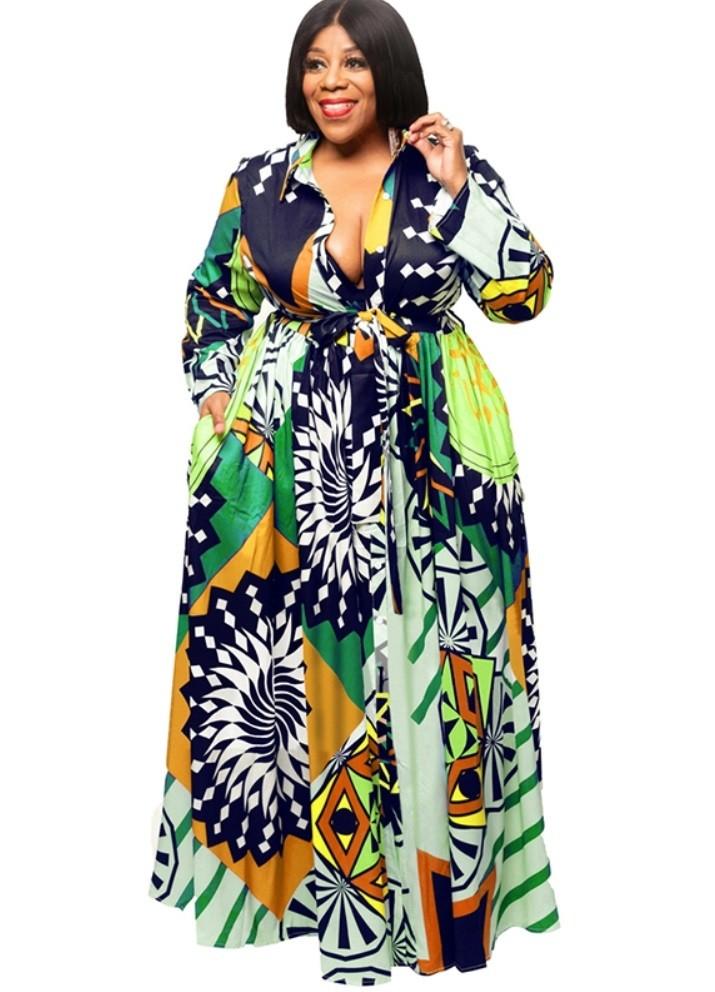 Beste Groothandel plus size print lange mouw maxi jurk | Wereldwijde minnaar YQ-61