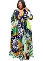 Vestido largo de manga larga con estampado de talla grande