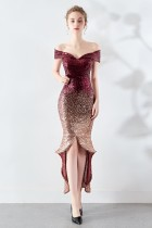 Pailletten Schatz High Low Meerjungfrau Abendkleid