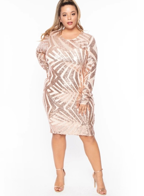 Plus Size Pailletten Langarm Club Kleid