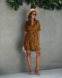 Lässige Summer Dot Wrapped Layer Dress
