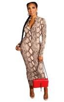 Sexy Midi-Kleid mit Schlangenhautdruck und langen Ärmeln