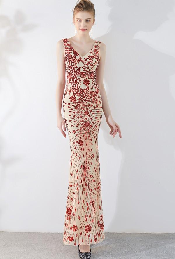 Pailletten ärmelloses V-Ausschnitt Meerjungfrau Abendkleid