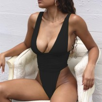 Sexy High Cut One Piece Plunging Badebekleidung