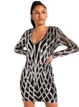 Mini vestido de club de manga larga con cuello en V lentejuelas