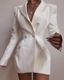 White Long Sleeve Blazer Dress
