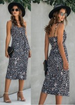 Vestido largo con tiras de leopardo sexy