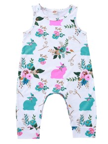 Baby Girl Print Sleeveless One Piece Jumpsuit