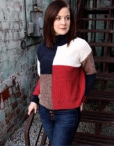 Suéteres cortos con cuello redondo en contraste