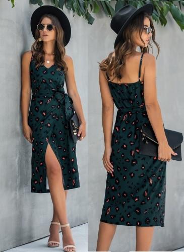 Léopard sexy bretelles longue robe portefeuille