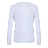 Weißes Langarmhemd mit Rundhalsausschnitt