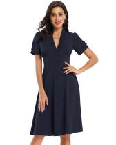 Pop kollu düz katı vintage elbise