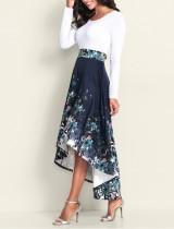 Robe vintage longue imprimée à manches longues