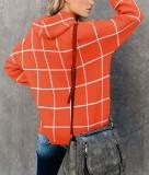 Kariertes High Neck Slit Sweater Top
