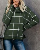 Plaid High Neck Slit Sweater Top