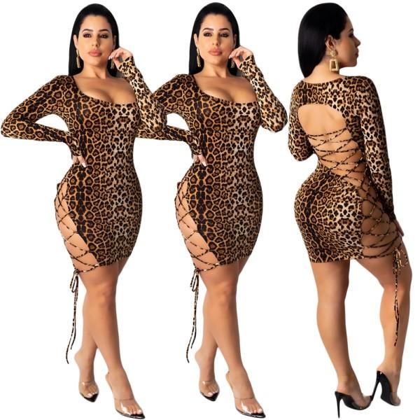 Sexy schnüren leopard club dress