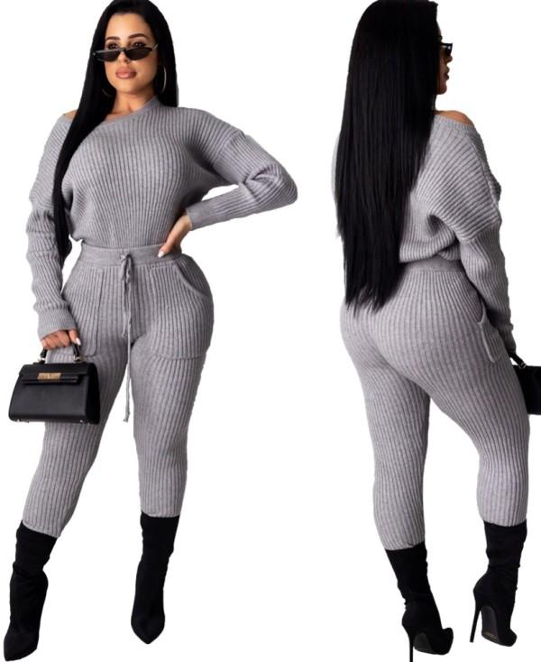 Einfarbig langen Ärmeln Pullover Hose Set